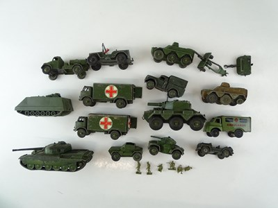 Lot 47 - A mixed group of playworn military vehicles...