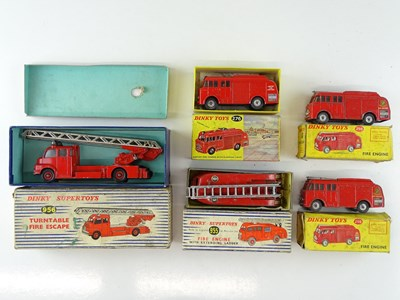 Lot 48 - A mixed group of DINKY fire engines comprising...