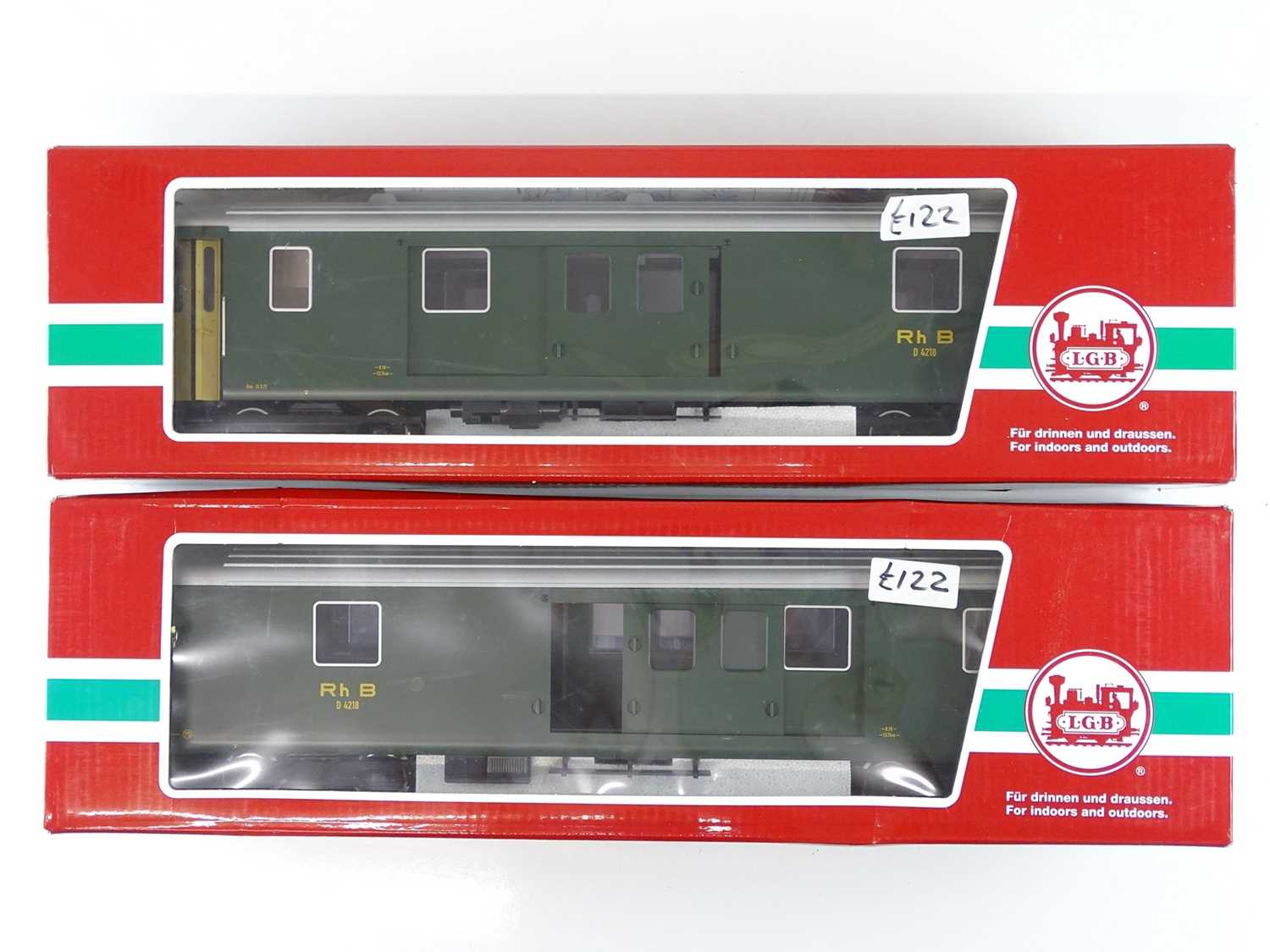 Lot 626 - A pair of LGB G scale bogie baggage coaches in...