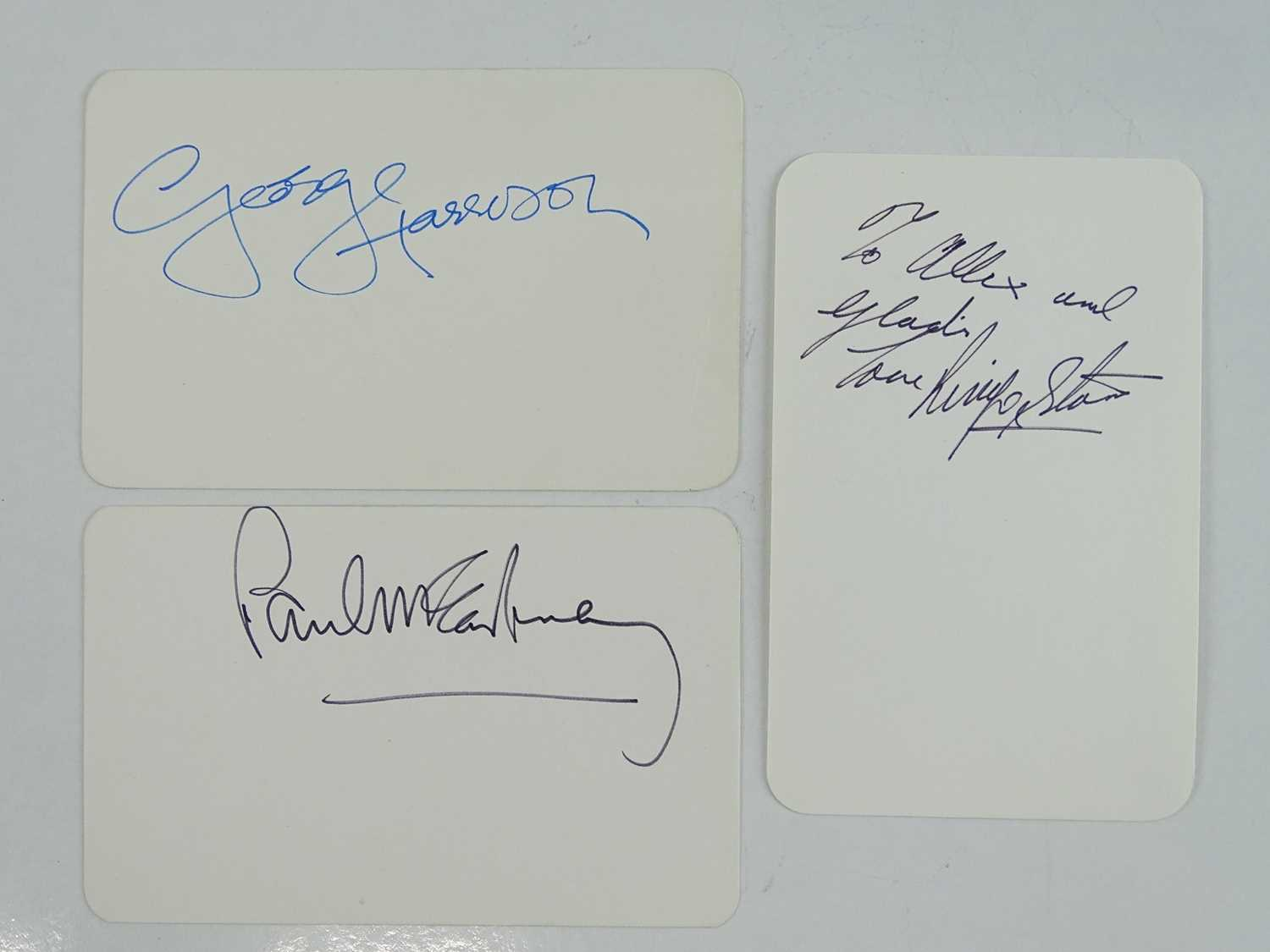 Lot 276 - THE BEATLES - A group of three signed cards...