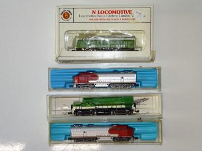 Lot 14 - A group of N Gauge American Outline diesel...