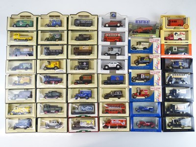 Lot 28 - A large tray of diecast vans, buses etc mostly...