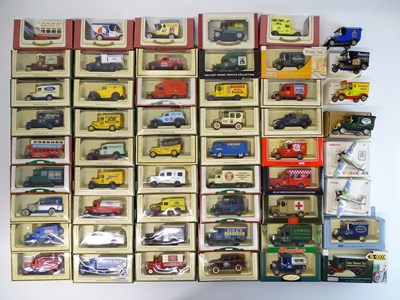 Lot 29 - A large tray of diecast vans, buses etc mostly...