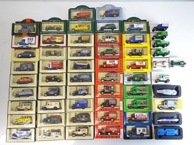 Lot 31 - A large tray of diecast vans, buses etc mostly...