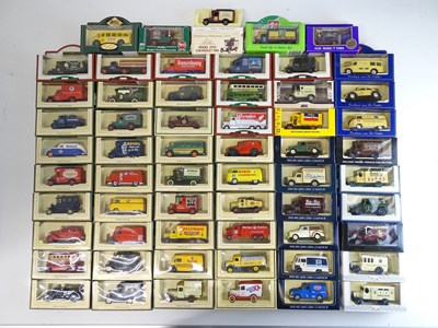 Lot 32 - A large tray of diecast vans, buses etc mostly...