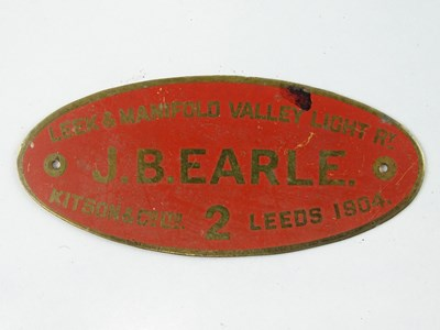 Lot 39 - A group of Railway related brass works plates...