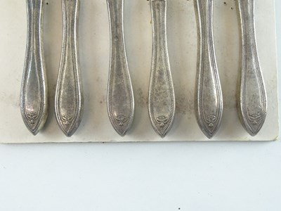 Lot 43 - A set of three pairs of silver plate fish...