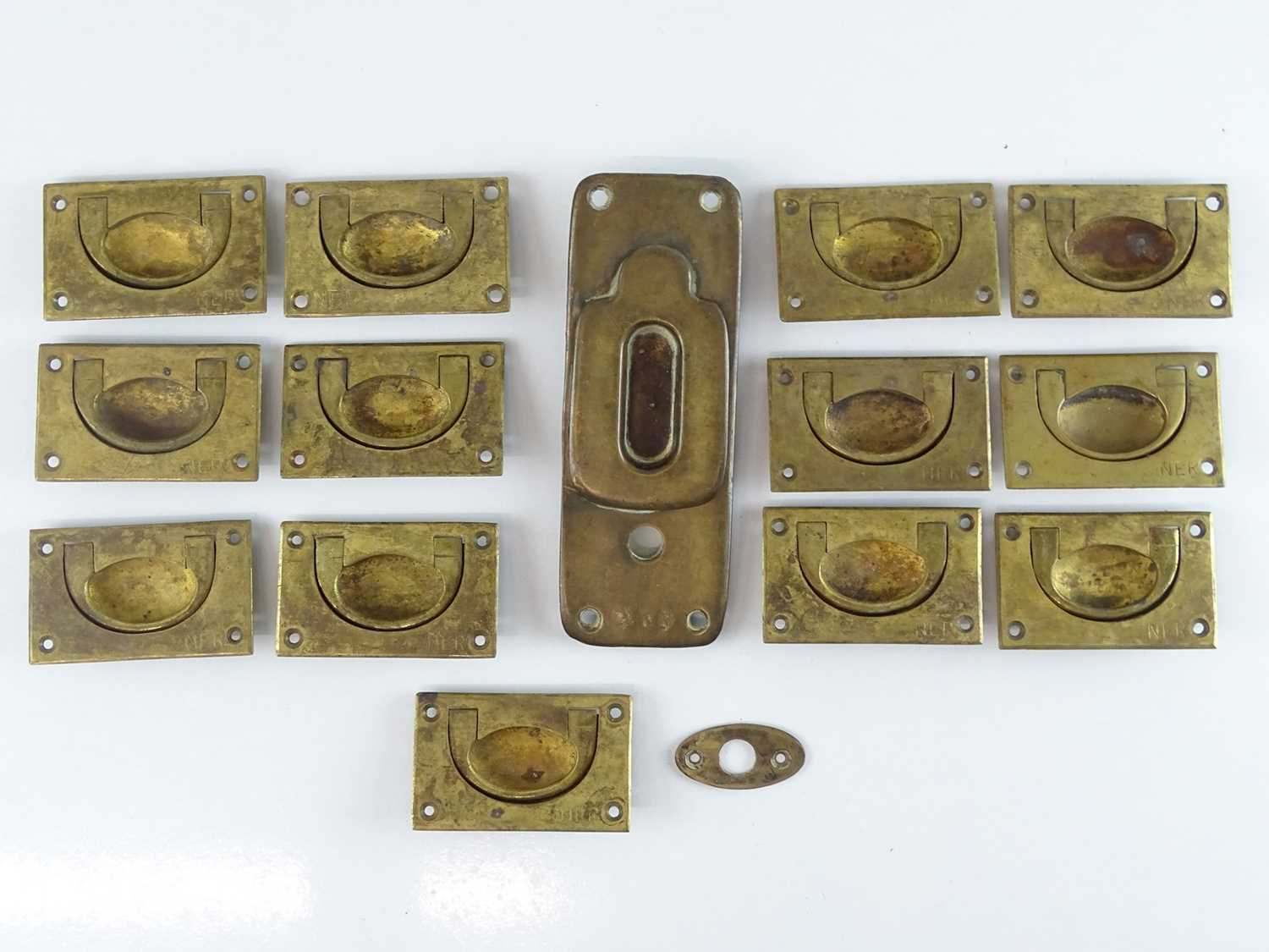 Lot 46 - A group of Railway brassware - mostly drawer...