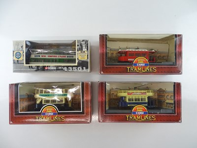 Lot 1 - A small group of CORGI diecast trams in...