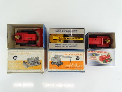 Lot 43 - A group of DINKY bulldozers and crane...